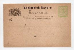 - POSTKARTE Königreich Bayern - 3 PFENNIG - - Ganzsachen
