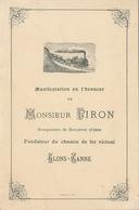Menu M. Piron Bourgmestre De Roclenge Sur Geer Bassenge Chemin De Fer Vicinal Glons Ganne Tram Tramway - Menükarten
