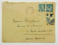 """Erinophilie, """"Pour Les Sinistrés D'Alsace"""" Sur Lettre 1945 Paris --> Ste Livrade Sur Lot, Affr. 1 F 50 + 2 F - Francia"""