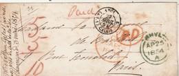 LSC Pour Paris Marque Cachet Entrée ANGL CALAIS 27/4/1854  D'Angleterre - Voir Cachets - Marcophilie (Lettres)