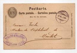 - Carte Postale BAILLOD & VILLEROT, ESTAVAYER-LE-LAC Pour ORPHELINAT DE MONTET (Suisse) 23.11.1897 - - Interi Postali