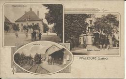 PHALSBOURG , PFALZBURG ( Lothr. ) , Bürgermeister-Amt , Kaiserl Postamt , Bahnhof ( Avec Train ) , CPA ANIMEE , 1918 , µ - Phalsbourg