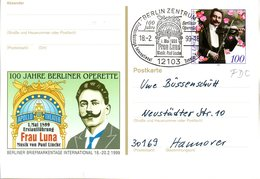 "BRD Amtl. GZS-Sonderpostkarte PSo 57 ""Int. Berliner BM-Tage"" WSt. ""50.Todestag Von Paul Lincke"", ESSt. 18.10.1999 BERLIN - [7] Federal Republic"