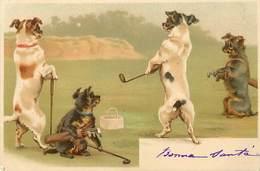 -themes Div.-ref-DD436-illustrateurs -illustrateur - Chiens Humanisés -theme Chien - Dogs - Dog -sports - Le Golf - - Dogs