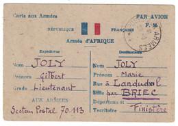 """1944 - CARTE POSTALE DE FRANCHISE MILITAIRE FM PAR AVION Avec MENTION """" ARMEE D'AFRIQUE """" SP 70.113 ARMÉES - Marcophilie (Lettres)"""