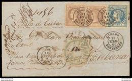 E-ISABEL II. 1861 (31 Enero)- 55º, 56º (2). Laredo / Santander A Cuba (2 Marzo). Carta Certificada Con Tarifa Total De 5 - Unclassified
