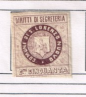 Revenue Fiscaux Municipio  San Lorenzo Nuovo - Mars 1881. Cfr Cataloque J.B. Moens (1892). Old Collection. RRR - 1878-00 Humbert I