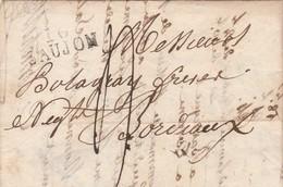 LAC Marque Postale 16 SAUJON Charente Maritime 20/7/1827 Taxe Manuscrite à Bordeaux Gironde Cachet Arrivée - Marcophilie (Lettres)