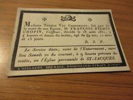 Zeer Oud Aankondiging Kaartje,1782 - 1831, Chopin, Brugge - Images Religieuses