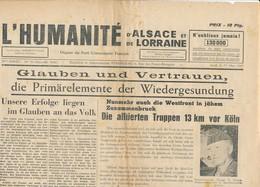 Humanité Alsace Lorraine 1945- B3719- ( Edition,  Date , Contenu ,  état ... Scan)-Envoi Gratuit - Dokumente