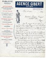 Lettre De 1927 Algérie  AGENCE GIBERT Oran Publicité Générale Affichage à Mr Grosjean Fougerat Lyon - Factures & Documents Commerciaux