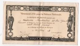 Certificat De Versement D'or Pour La Défense Nationale (banque De France) 1917 (PPP11628) - Shareholdings