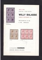 LA COLLECTION HANSEN  Ventes Publiques  WILLY BALASSE N° 1098 Et 1099 - Catalogues For Auction Houses