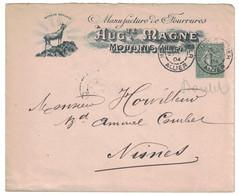 ENVELOPPE ILLUSTRÉE ENTETE AUG. MAGNE MANUFACTURE FOURRURES MOULINS ALLIER AFFRANCHIE SEMEUSE 130 NIMES 1904 - Storia Postale