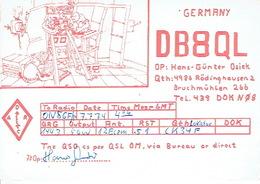 QSL - GERMANY - DB8QL - HANS GÜNTER OSIEK - RÖDINGHAUSEN - 1974 - Radio-amateur