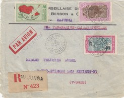 DEVANT DE LETTRE. MADAGASCAR PAR AVION.  12 JANV 37. RECOMMANDE MAJUNGA VIA TANANARIVE-ELISABETHVILLE POUR LA FRANCE - Madagascar (1889-1960)