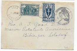 1944 - CAMEROUN FRANCE LIBRE - SERIE De LONDRES - ENVELOPPE De EDEA Avec CENSURE => BIBIA Par LOLODORF - Cameroun (1915-1959)