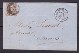 N° 10 A / Fragment De La Louviere Vers Mons  18 Aout 1860 Un Rabat Manquant - 1858-1862 Medallions (9/12)