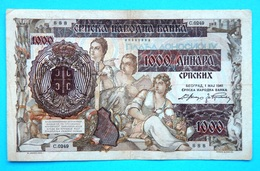 WW2, GERMAN Occupation, YUGOSLAVIA SERBIA, 1000 Dinara 1941.Srpska Narodna Banka - Serbie
