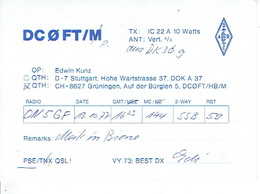 QSL - GERMANY - DC0FT - EDWIN KUNZ - STUTTGART - 1977 - Radio-amateur