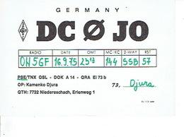 QSL - GERMANY - DC0JO - KAMENKO DJURA - NIEDERESCHACH - 1975 - Radio-amateur