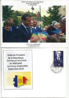 Visite Du President Macron,Co-Prince D'Andorre, Septembre 2019.,au Dos General De Gaulle, Co-Prince, Avec Cachet Andorre - France