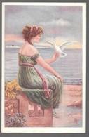 Cpa...illustrateur...AR...art Nouveau...jeune Femme Avec Une Colombe... - Illustrateurs & Photographes