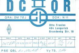 QSL - GERMANY - DC0QR- OTTO FROSINN - LENGERICH - 1972 - Radio-amateur
