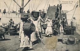 """St Thomas Danish West Indies  Unloading Coal  Women Slavery . Esclavage . To Croiseur Ecole  """" Duguay Trouin """" - Vierges (Iles), Amér."""