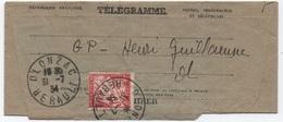 TAXE 30c Banderole Duval Sur Télégramme GP = Guichet Poste Restante OLONZAC HERAULT 1934 SUP! - Strafport