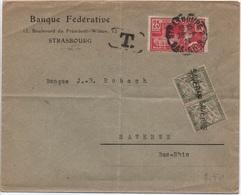 ALSACE TAXE 20c Banderole Duval Annulé Griffe Linéaire SAVERNE Lettre 2ème échelon Strasbourg 1924 25c Jeux Olympiques - Strafport