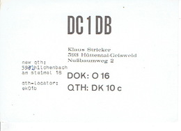 QSL - GERMANY - DC1DB - KLAUS STRICKER - HÜTTENTAL-GEISWEID - 1975 - Radio-amateur