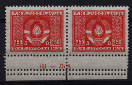 28. Yugoslavia 1946 Official Stamps 2.50din Marginal Plate Number Pair MNH - 1945-1992 Repubblica Socialista Federale Di Jugoslavia