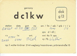 QSL - GERMANY - DC1KW - WALTER KIRCHNER - WEGBERG/MOORSHOVEN - 1973 - Radio-amateur