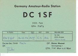 QSL - GERMANY - DC1SF - DIETER MOMOT - MURR A.D. MURR - 1977 - Radio-amateur