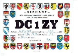 QSL - GERMANY - DC1ZY - PETER MÜLLER - RANSEL - 1974 - BLASONS - Radio Amateur