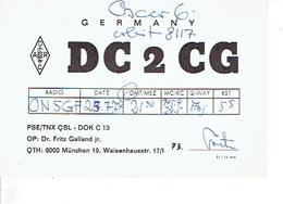 QSL - GERMANY - DC2CG - Dr. FRITZ GALLAND Jr. - MÜNCHEN - 1974 - Radio-amateur