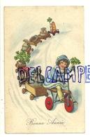 Bonne Année.  Petite Fille Dans La Neige, Tricycle, Train De Fête : Cochon,champignons, Trèfles, Sacs D'argent, ... - Nouvel An