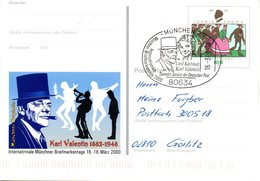 "BRD Amtl. GZS-Sonderpostkarte PSo 65 ""Int. Münchner BM-Tage"" WSt ""Ludwig Thoma"", ESSt. 16.3.2000 MÜNCHEN 2 - BRD"