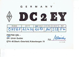 QSL - GERMANY - DC2EY- ULRICH GUDDAT - OBERH.-OSTERFELD - 1972 - Radio-amateur