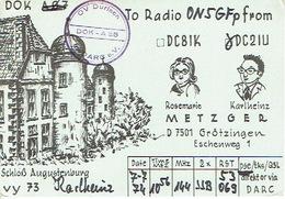 QSL - GERMANY - DC2IU - ROSEMARIE & KARLHEINZ METZGER - GRÖTZINGEN - 1974 - Radio Amateur
