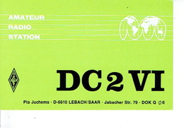 QSL - GERMANY - DC2VI - PIA JUCHEMS - LEBACH/SAAR - 1974 - Radio Amateur