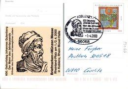 """BRD Amtl. GZS-Sonderpostkarte PSo 66 """"BM+Münzen Messe Rheinland Pfalz"""" WSt """"Hildegard Von Bingen"""", SSt. 1.4.2000 KOBLENZ - [7] Federal Republic"""