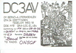 QSL - GERMANY - DC3AV - BERND-A. UTERMOEHLEN - GOETTINGEN- 1973 - Radio-amateur