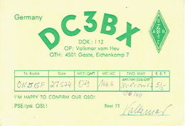 QSL - GERMANY - DC3BX - VOLKMAR VOM HEU - GASTE - 1974 - Radio Amatoriale