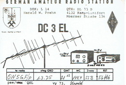 QSL - GERMANY - DC3EL - HARALD W. PREHM - KAMP-LINTFORT - 1975 - Radio-amateur