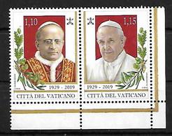 VATICAN 2019  90th ANNIV OF STATEHOOD POPES SETENANT PAIR - Neufs