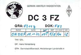 QSL - GERMANY - DC3FZ- HANS WENZELBERG - DARMSTADT-EBERSTADT - 1973 - Radio-amateur