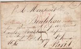 LAC De Chaniers Marque Postale 16 SAINTES Charente Maritime 11/7/1823 Taxe Manuscrite à Paris Voir Adresse Description - Postmark Collection (Covers)