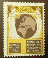 Werbemarke Cinderella Poster Stamp  Budapest Frauenstimmrecht  1913 #131-gelb - Erinnofilia